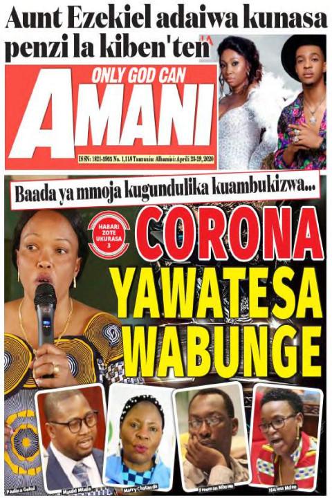 CORONA YAWATESA WABUNGE | AMANI