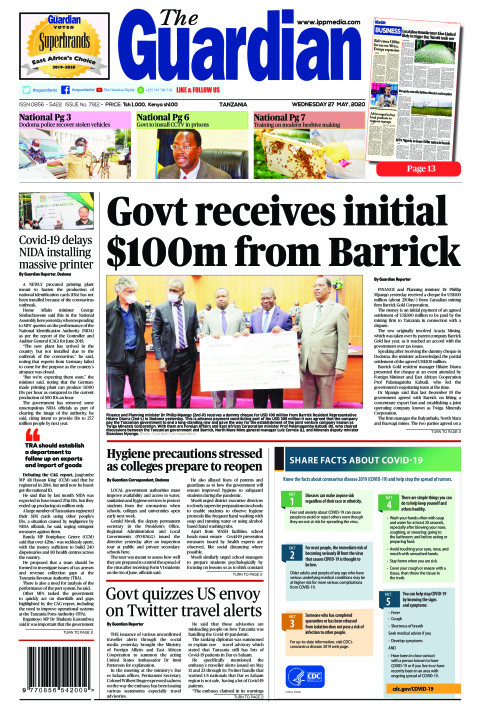 Govt receives initial $100m from Barrick | The Guardian