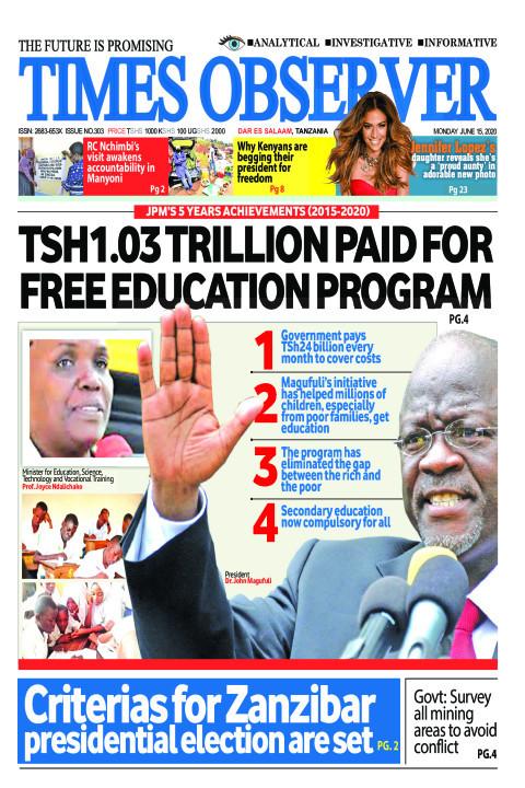 TSH1.03 TRILLION PAID FOR FREE EDUCATION PROGRAM | Times Observer