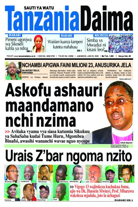 Askofu ashauri maandamano nchi nzima   Tanzania Daima