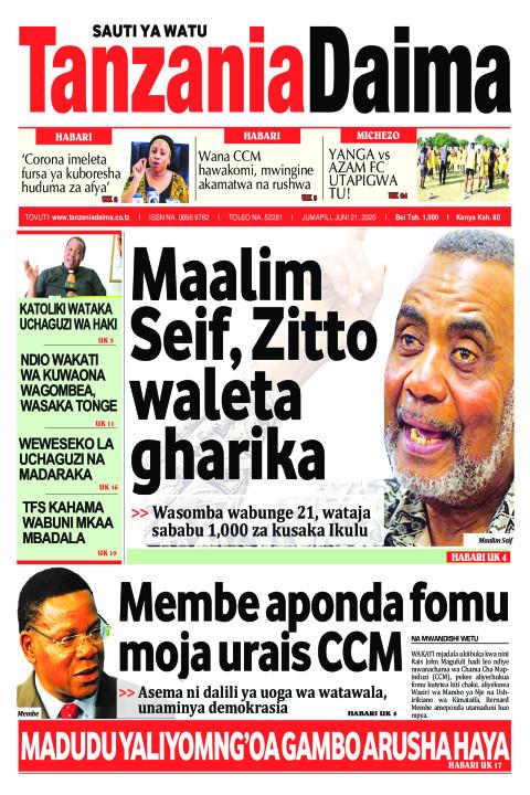 Maalim Seif, Zitto waleta gharika   Tanzania Daima