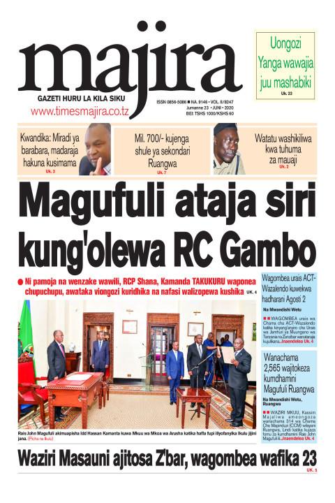 Magufuli ataja siri kung'olewa RC Gambo | MAJIRA