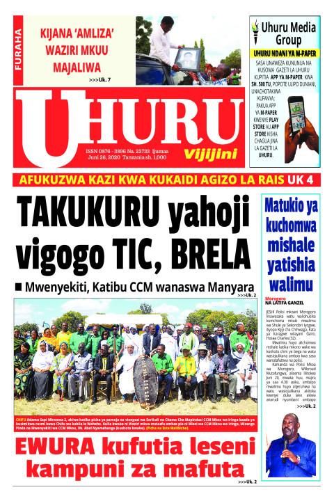 TAKUKIRU YAHOJI VIGOGO TIC, BRELA | Uhuru