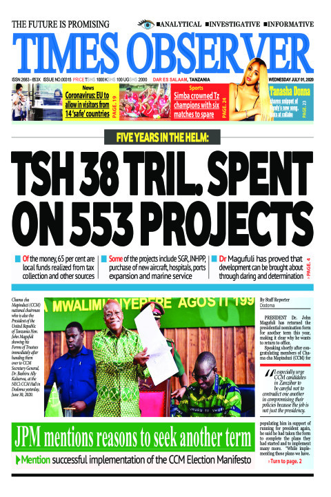 TSH 38 TRIL. SPENT ON 553 PROJECTS | Times Observer