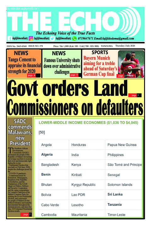 Govt orders Land Commissioners on defaulters | The ECHO