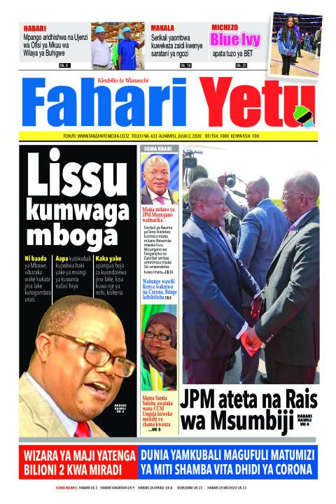 Lissu kumwaga mboga | Fahari Yetu