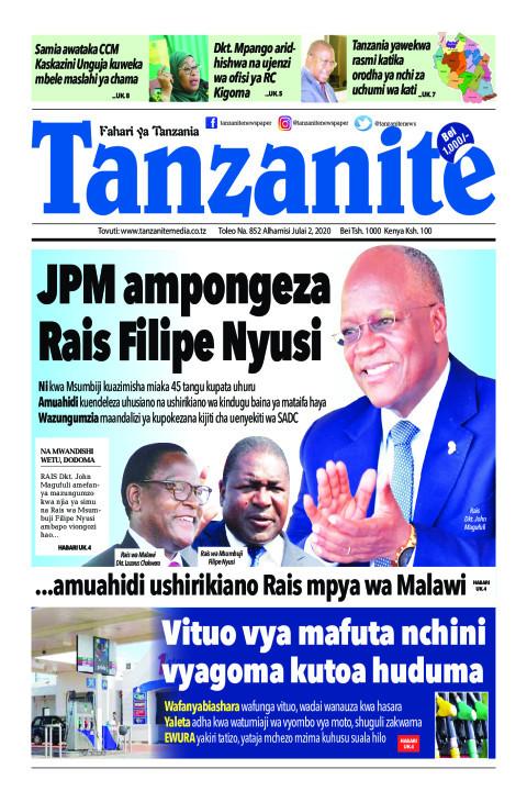 JPM ampongeza Rais Filipe Nyusi | Tanzanite