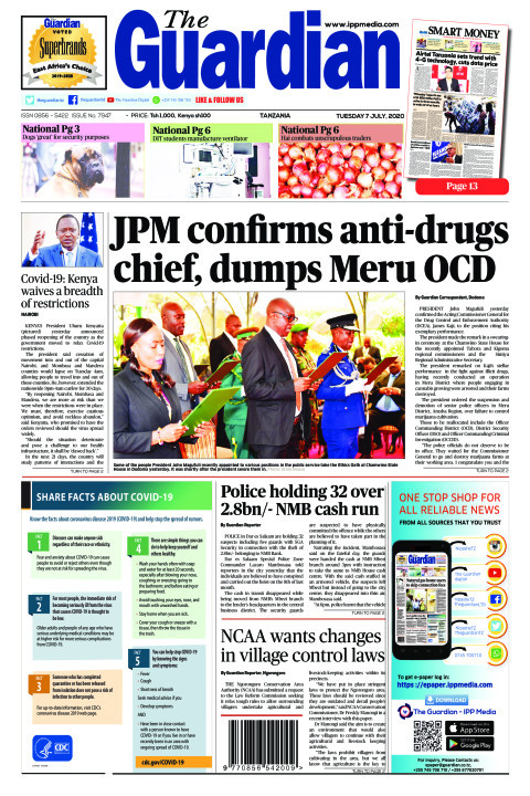 JPM confirms anti-drugs chief, dumps Meru OCD | The Guardian