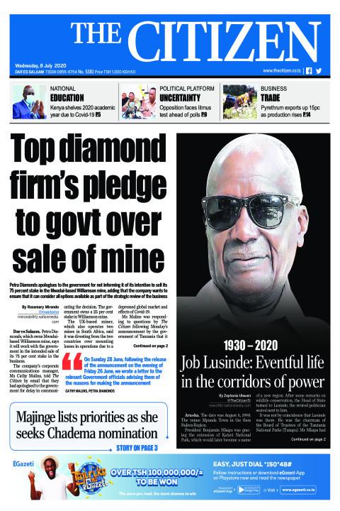 Top diamond firm's pledge to govt over sale of mine | The Citizen