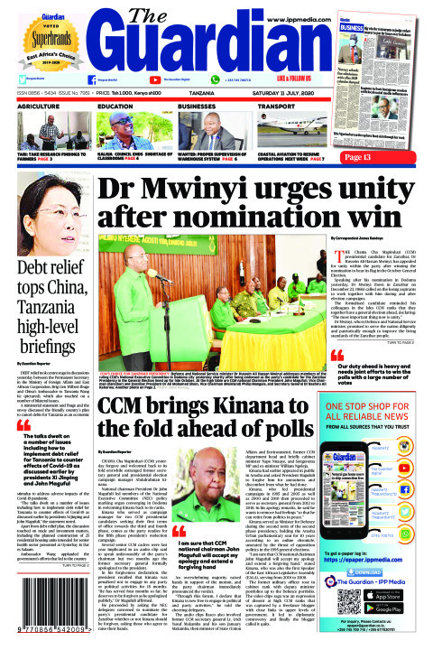 Dr Mwinyi urges unity after nomination win | The Guardian