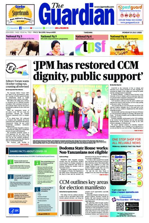 'JPM has restored CCM dignity, public support' | The Guardian