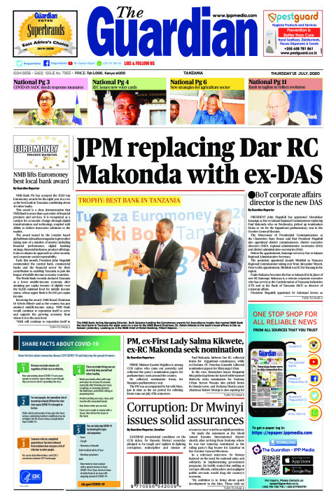 JPM replacing Dar RC Makonda with ex-DAS