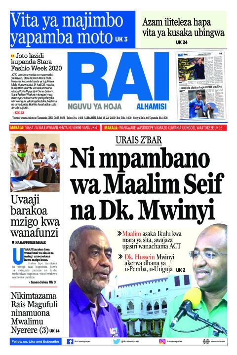 Ni mpambanowa Maalim Seif na Dk. Mwinyi   Rai
