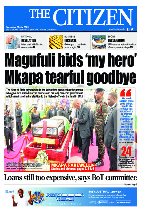 MAGUFULI BIDS 'MY HERO' MKAPA TEARFUL GOODBYE 