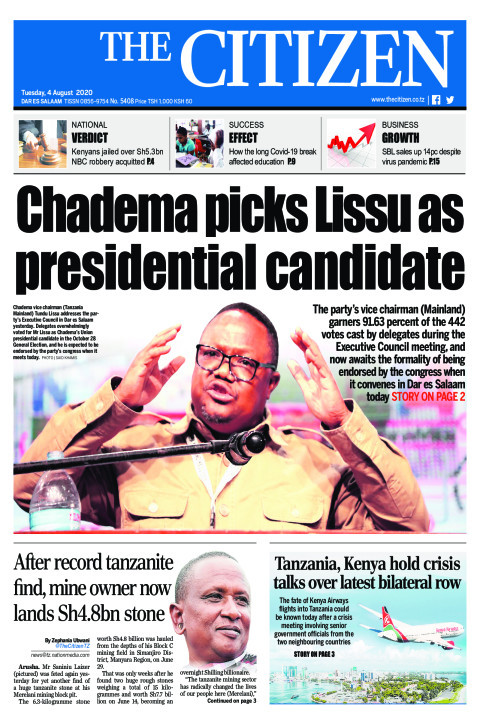 CHADEMA PICKS LISSU AS PRESIDENTIAL CANDIDATE