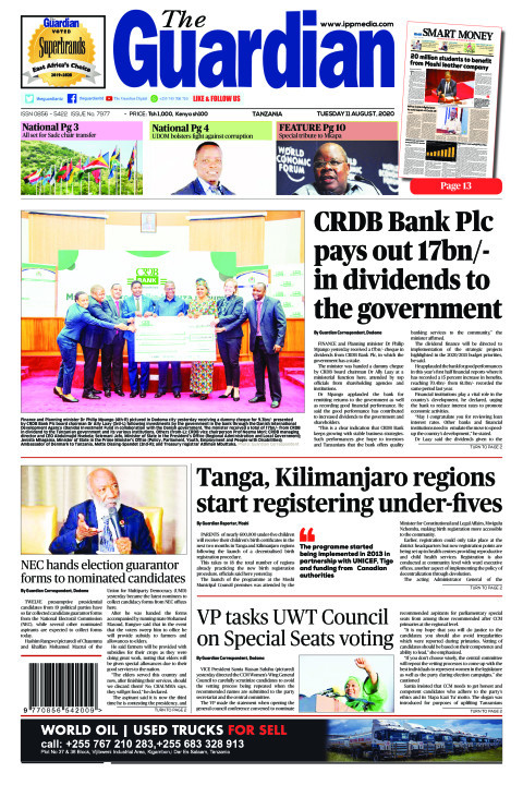 CRDB Bank Plc pays out 17bn/- in dividends to the government | The Guardian