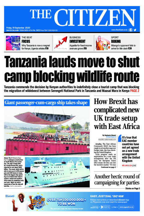 TANZANIA LAUDS MOVE TO SHUT CAMP BLOCKING WILDLIFE ROUTE