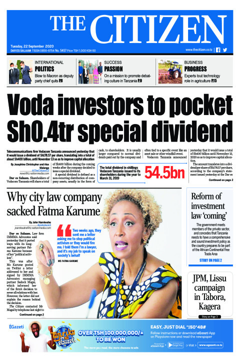 VODA INVESTORS TO POCKET SH0.4TR SPECIAL DIVIDEND