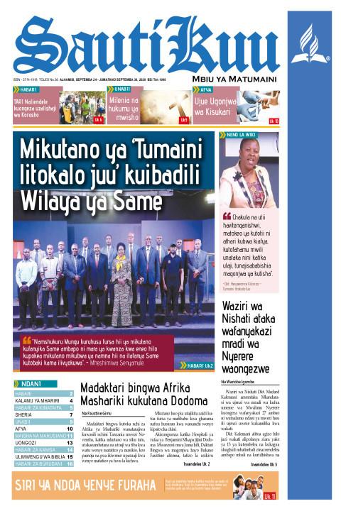 Mikutano ya 'Tumaini litokalo Juu' kuibadili Wilaya ya Same | Sauti Kuu Newspaper