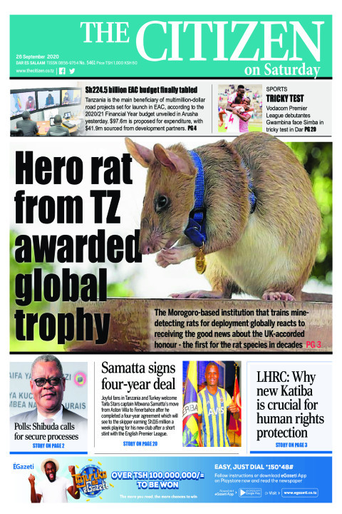 HERO RAT FROM TZ AWARDED GLOBAL TROPHY  | The Citizen