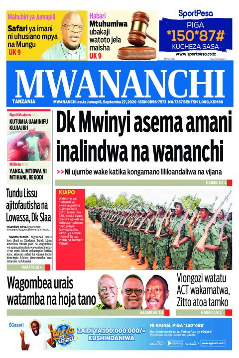 DK MWINYI ASEMA AMANI INALINDWA NA WANANCHI  | Mwananchi