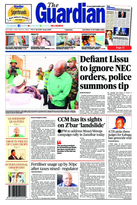 Defiant Lissu to ignore NEC orders, police summons tip  | The Guardian