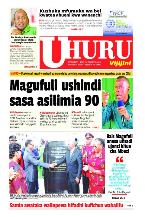 Magufuli sasa ushindi asilimia 90   Uhuru