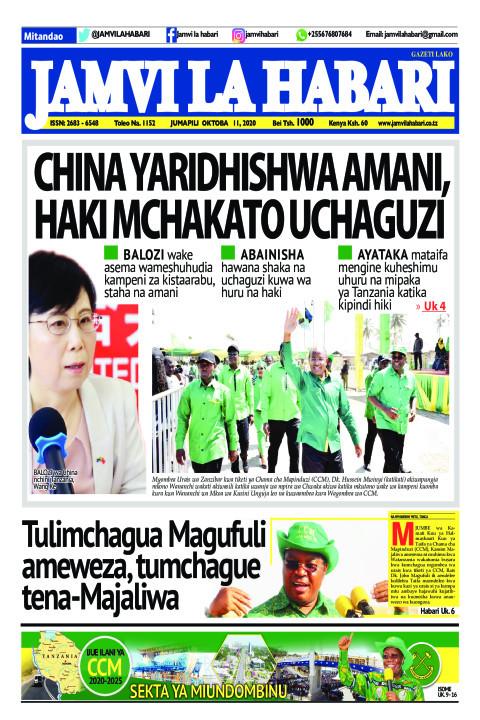 CHINA YARIDHISHWA AMANI, HAKI MCHAKATO UCHAGUZI | Jamvi La Habari