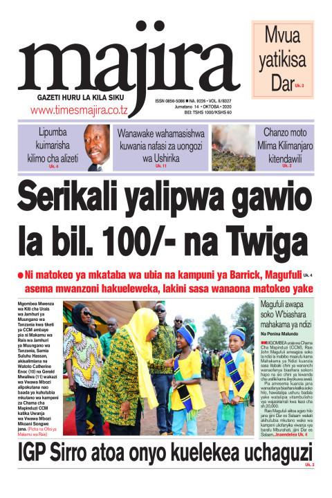 Serikali yalipwa gawio la bilioni 100/- na Twiga | MAJIRA
