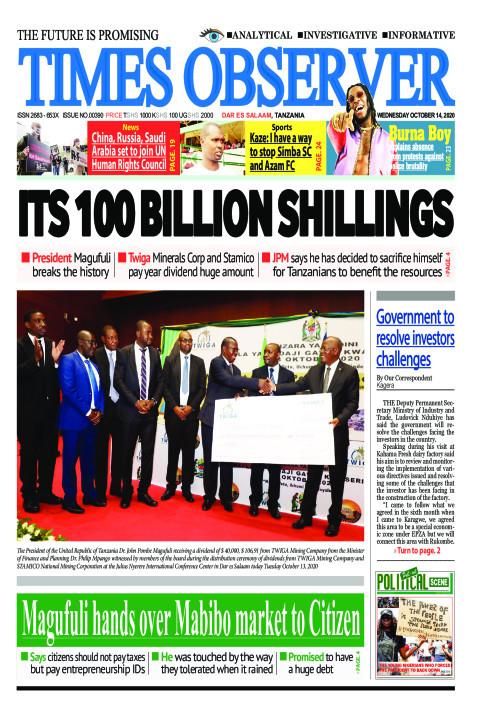 ITS 100 BILLION SHILLINGS | Times Observer