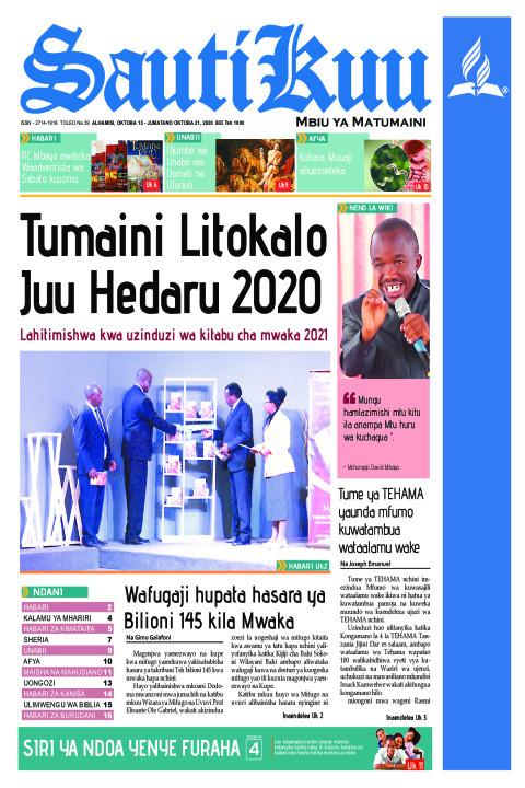 TUMAINI LITOKALO JUU - HEDARU 2020 LAHITIMISHWA KWA UZINDUZI | Sauti Kuu Newspaper