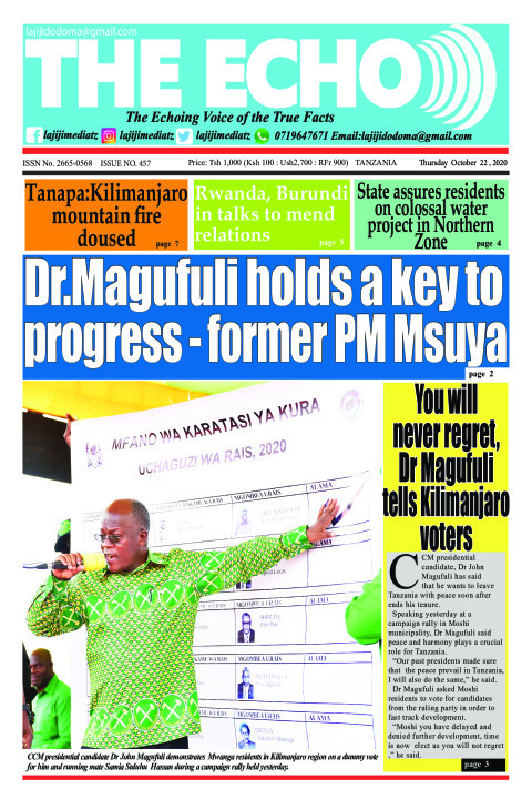 Dr.Magufuli holds a key to progress - former PM Msuya | The ECHO