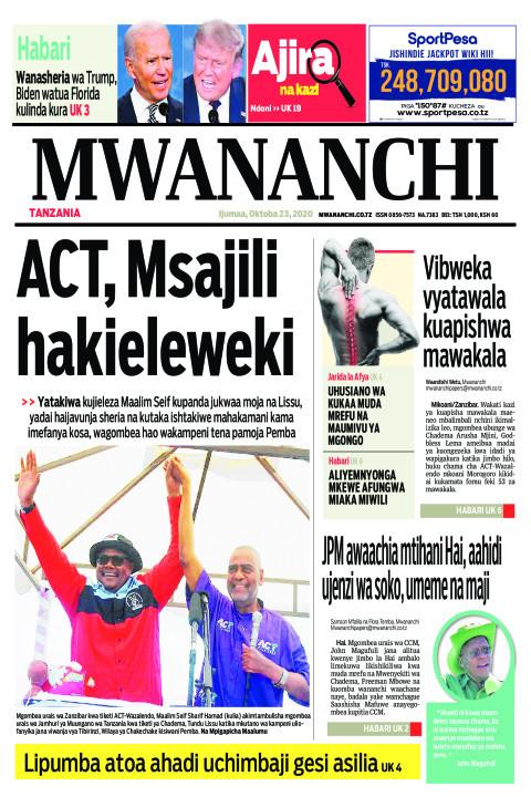 ACT,MSAJILI HAKIELEWEKI    Mwananchi