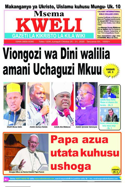 Viongozi wa Dini walilia amani Uchaguzi Mkuu. Papa azua uta | MSEMA KWELI