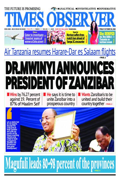 DR.MWINYI ANNOUNCES PRESIDENT OF ZANZIBAR   Times Observer