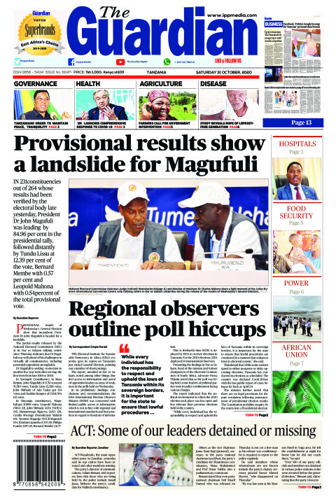 Provisional results show a landslide for Magufuli   The Guardian