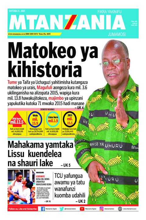 Matokeo ya kihistoria   Mtanzania