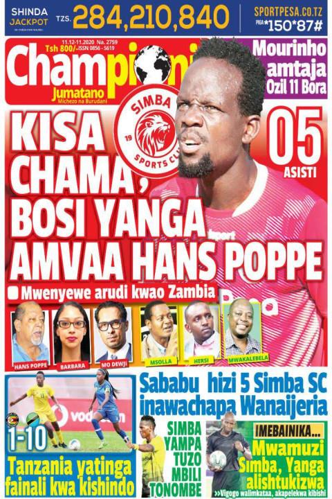 KISA CHAMA, BOSI YANGA AMVAA HANS POPPE | Champion Jumatano