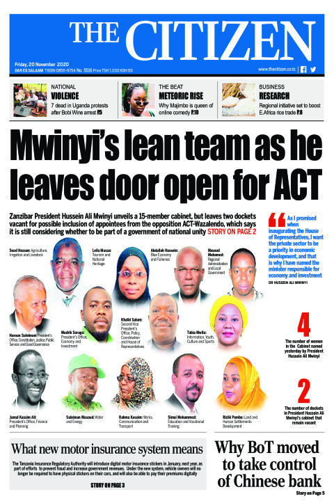 MWINYI'S LEAN TEAM AS HE LEAVES DOOR OPEN FOR ACT | The Citizen