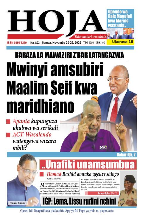 Mwinyi amsubiri Maalim Seif kwa maridhiano | HOJA