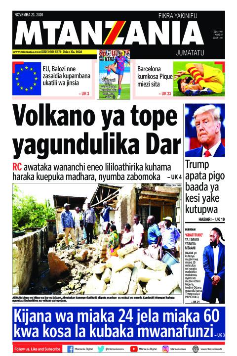 Volkano ya tope yagundulika Dar | Mtanzania