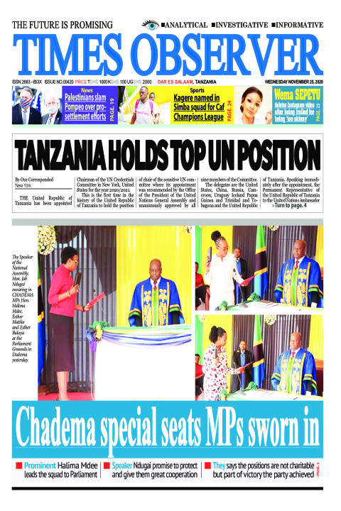 TANZANIA HOLDS TOP UN POSITION | Times Observer