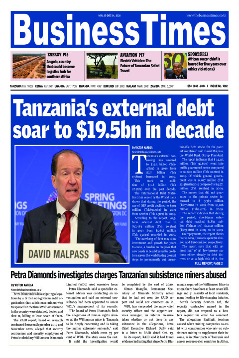 Tanzania's external debt soar to $19.5bn in decade   Business Times