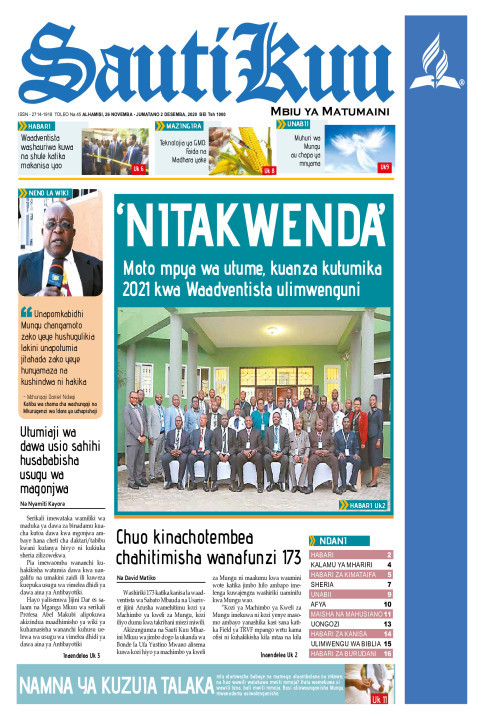 'NITAKWENDA',moto mpya wa utume kuanza kutumika 2021 kwa Waa | Sauti Kuu Newspaper