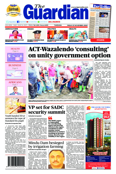 ACT-Wazalendo 'consulting' on unity government option     The Guardian