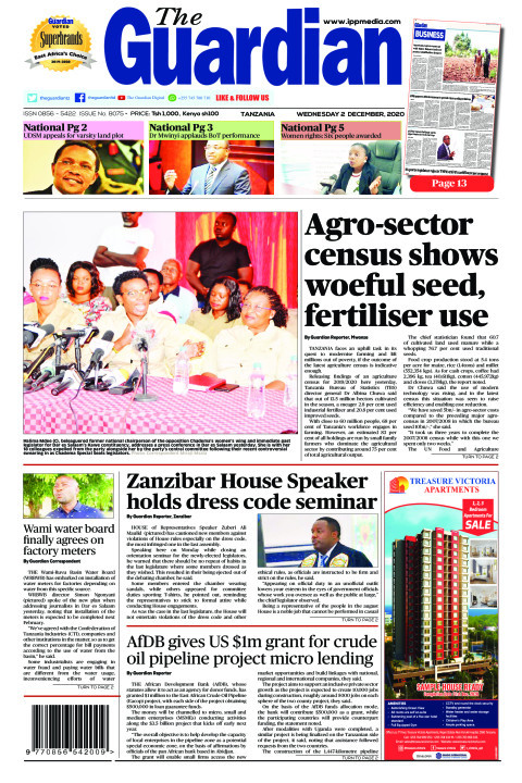 Agro-sector census shows woeful seed, fertiliser use   The Guardian