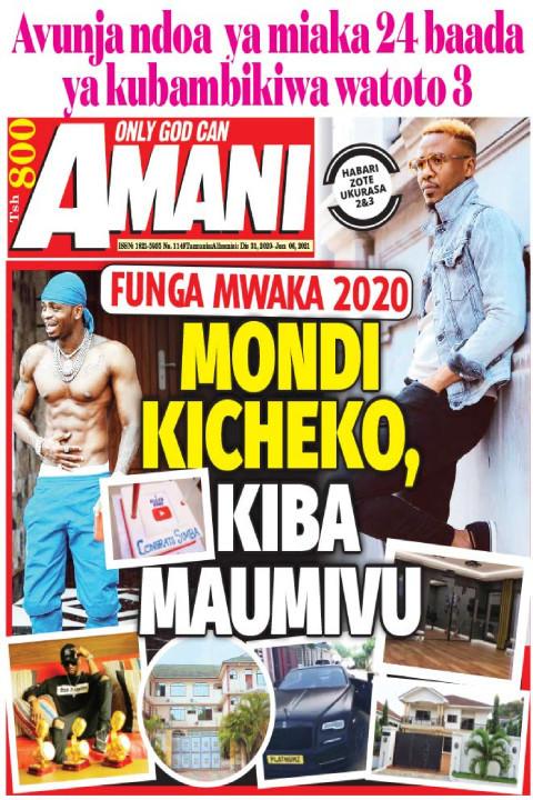 FUNGA MWAKA 2020 MONDI KICHEKO, KIBA MAUMIVU | AMANI