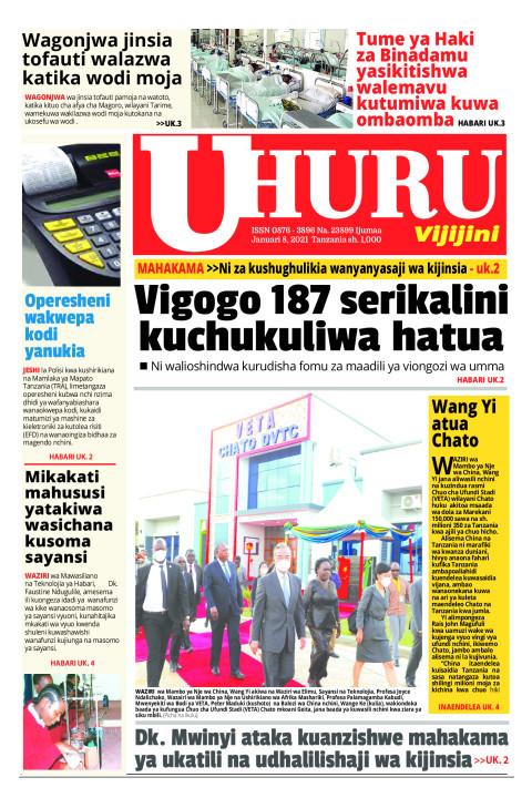 VIGOGO 187 SERIKALINI KUCHUKULIWA HATUA   Uhuru
