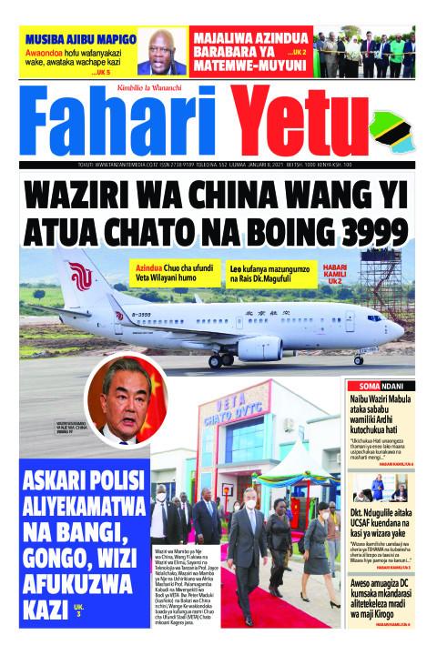 WAZIRI WA CHINA WANG YI ATUA CHATO NA BOING 3999 | Fahari Yetu