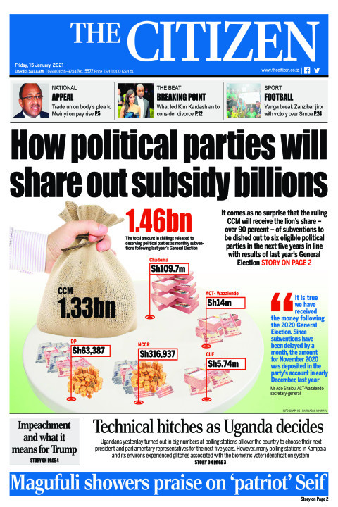 HOW POLITICAL PARTIES WILL SHARE OUT SUBSIDY BILLIONS